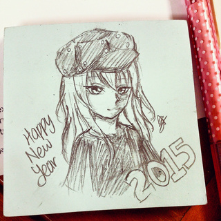 320x320 Happy New Year Pencil Drawing Merry Christmas And Happy New Year