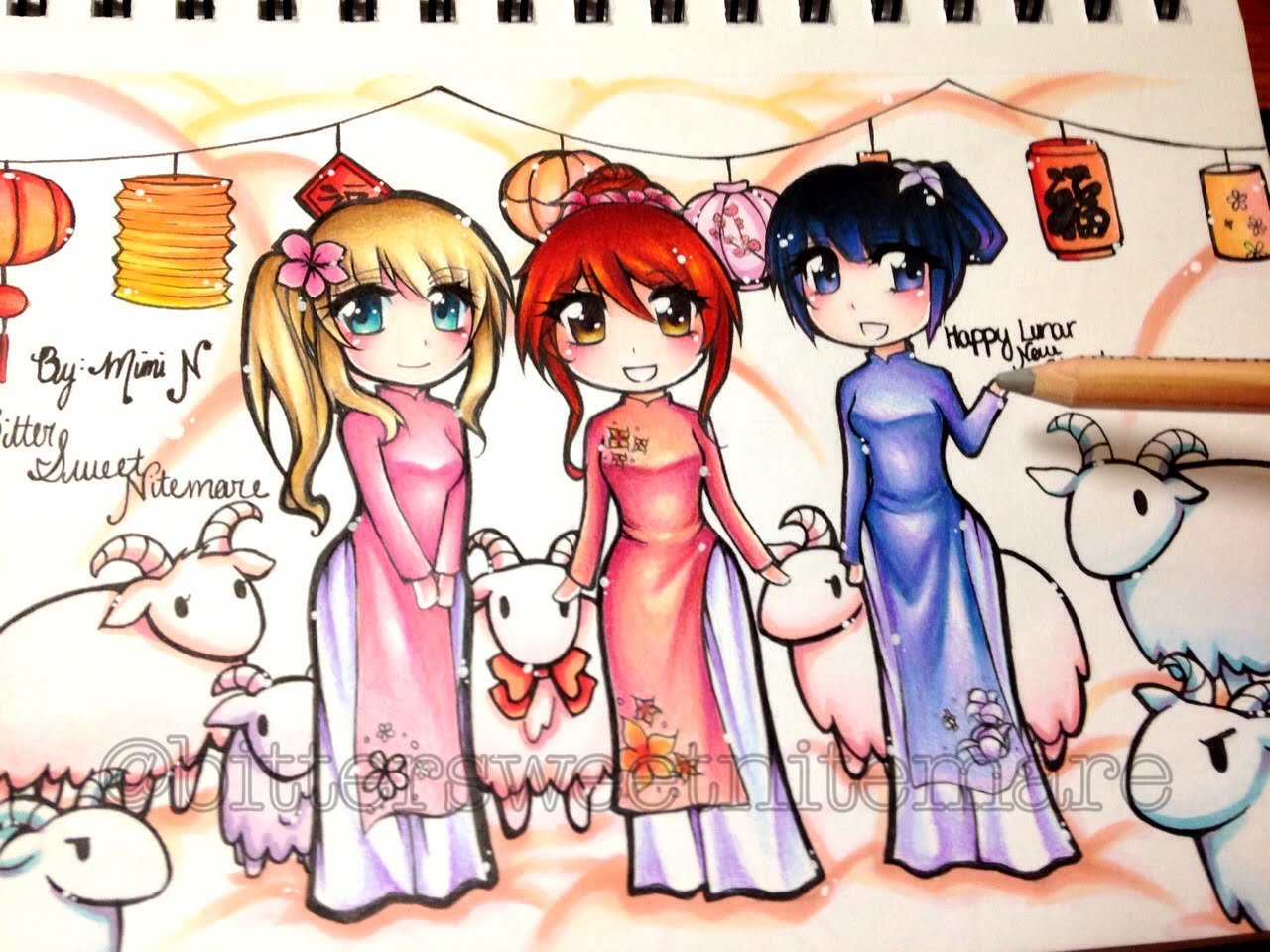 1280x960 Manga Drawing Lunar New Year [Colored Pencil, Watercolor, Marker