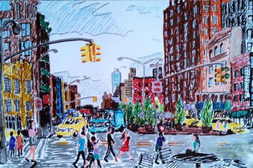 500x333 New York City Drawing Nyc Manhattan Crosswalk Colorful