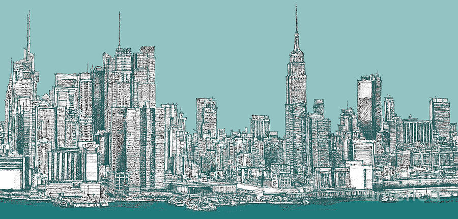 900x431 Study Of New York City In Turquoise Drawing By Adendorff Design
