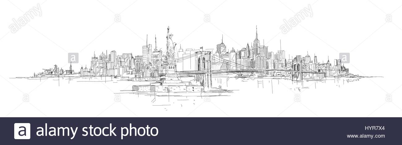 1300x470 Vector Sketch Hand Drawing Panoramic New York City Silhouette
