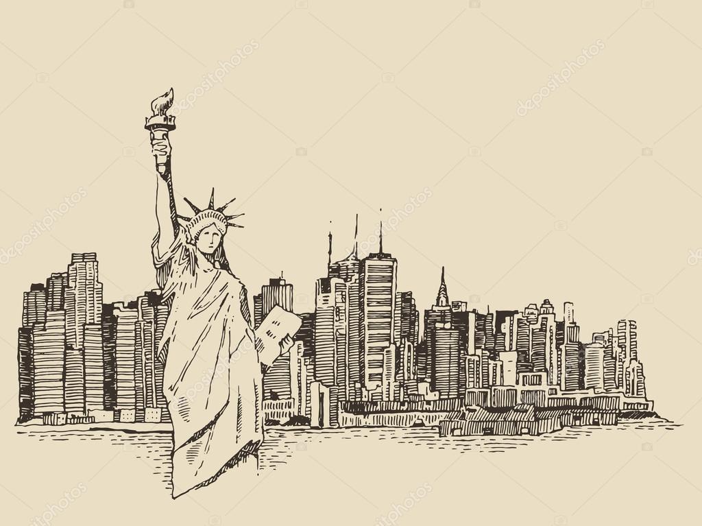 1024x767 Hand Drawn New York City Stock Vector Grop