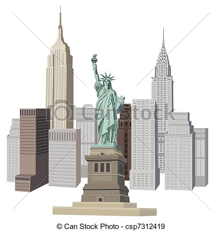450x470 Illustration With New York City Skyline And Liberty Statue Eps