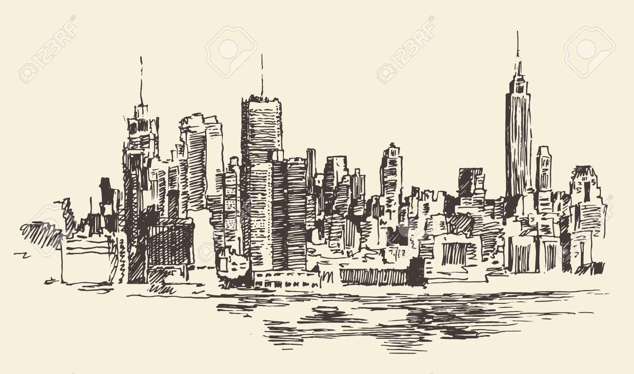 1300x767 New York City Architecture, Vintage Engraved Illustration, Hand