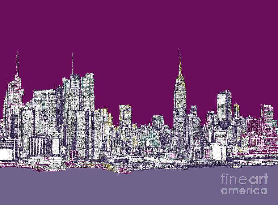 900x663 New York Nyc In Purple Drawing By Building Art