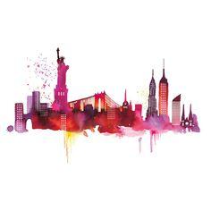 236x236 New York Watercolor Painting Art Print 8 X 10 New York City