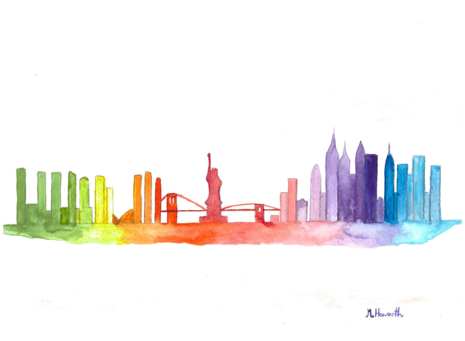 New york cityscape drawing at free for for New york skyline painting