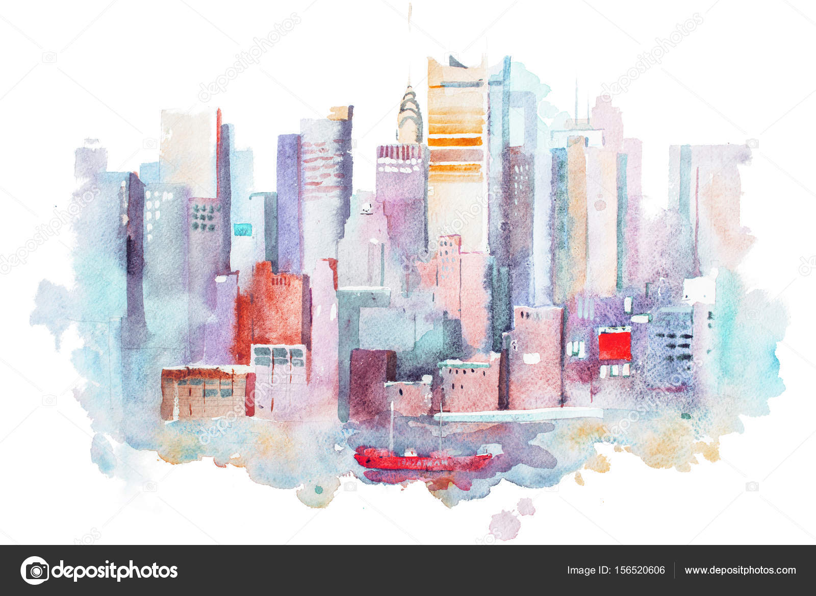 1600x1168 Watercolor Drawing Of New York Cityscape, Usa. Manhattan Aquarelle
