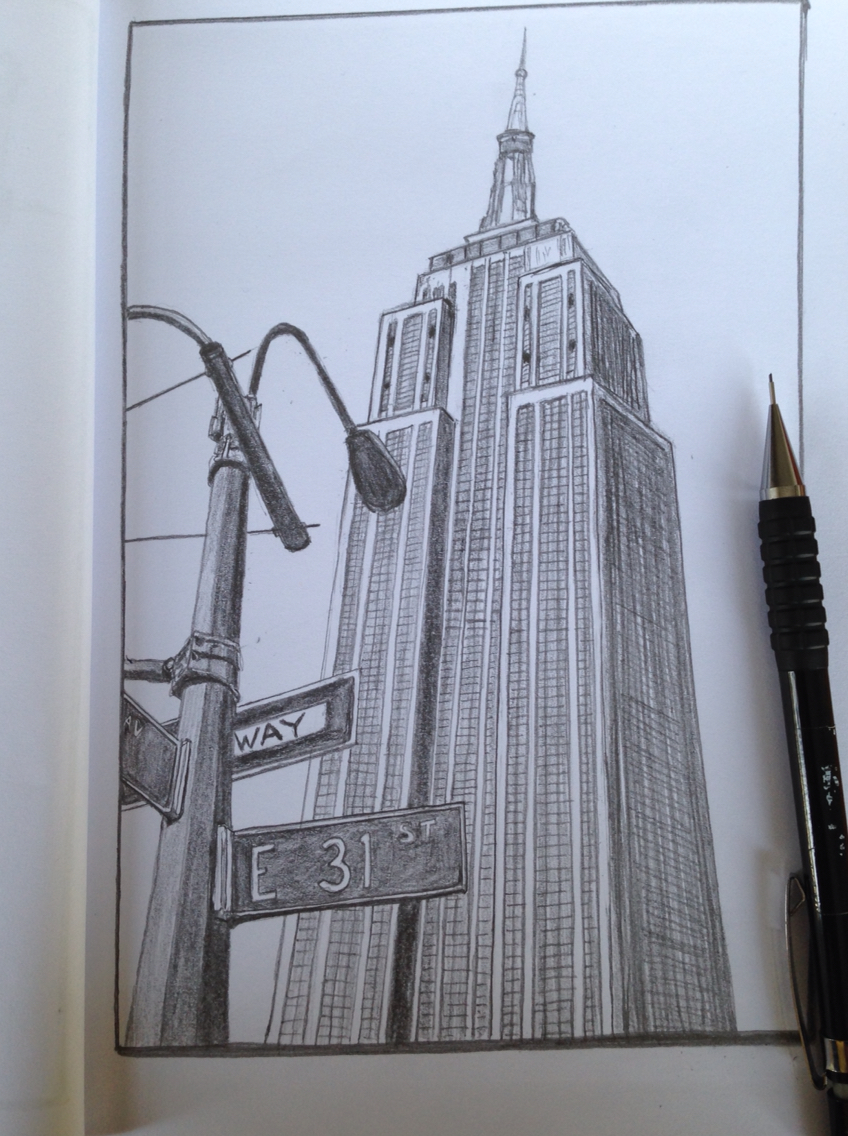 848x1136 Empire State Building, New York Sketch Drawing Portfolio