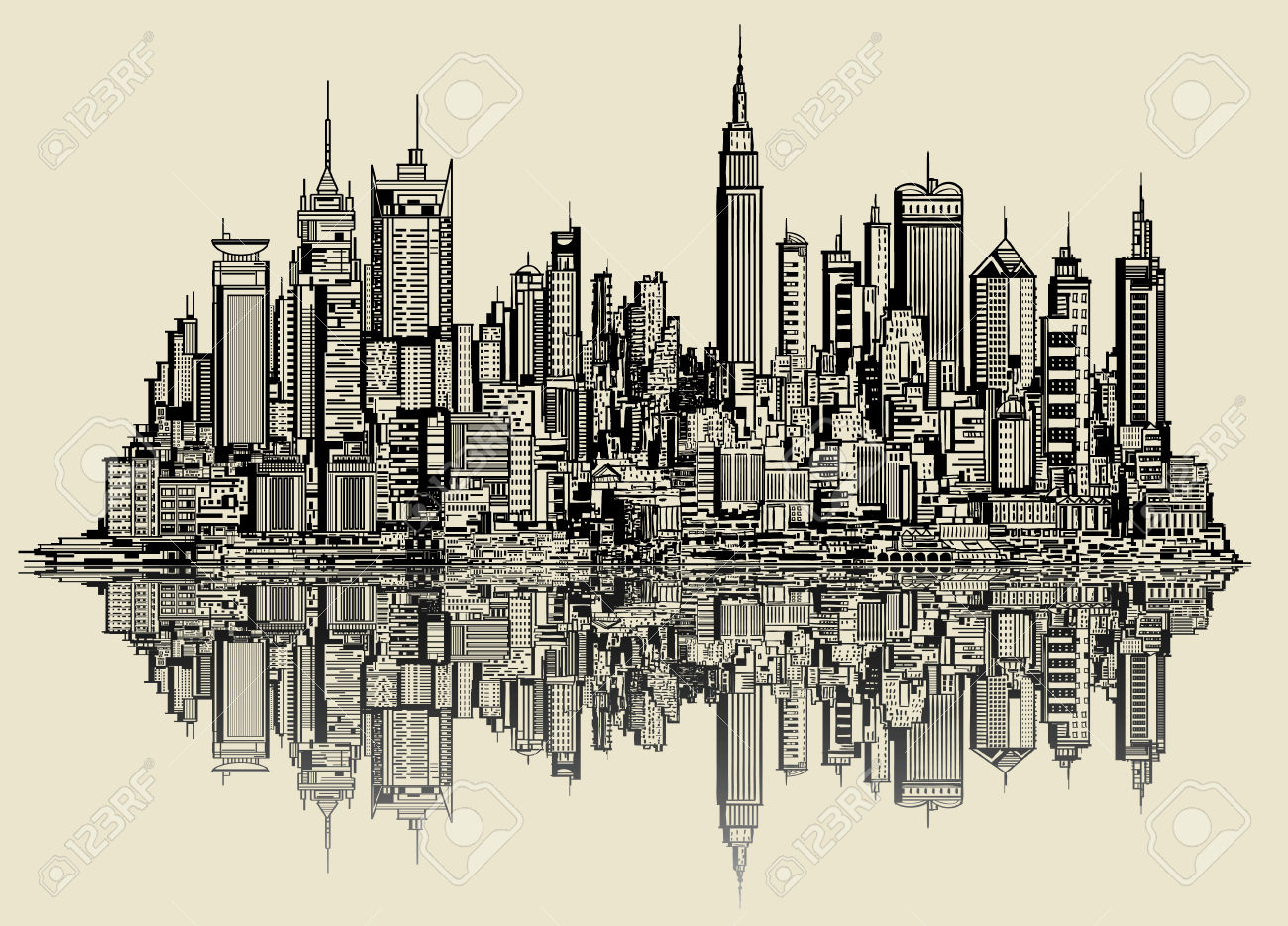 1300x935 New York Skyline Drawing 4,127 New York Skyline Stock