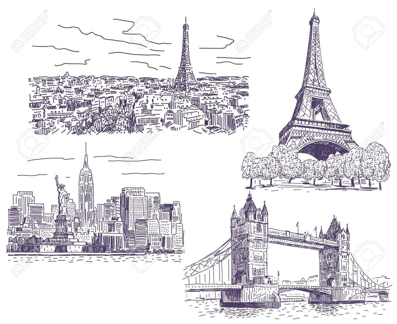 1300x1061 Paris, London And New York Drawings Illustrations Set Royalty Free