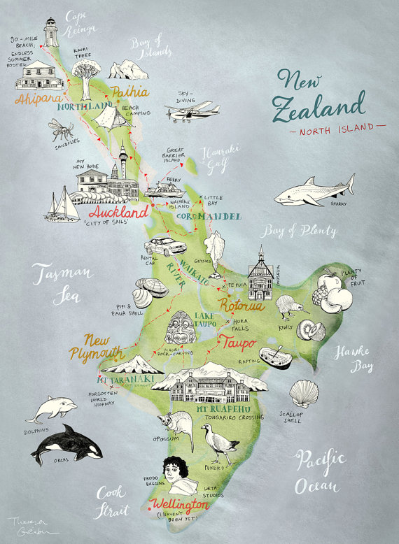 570x778 Large Print New Zealand Map Of North Island Giclee Art Print