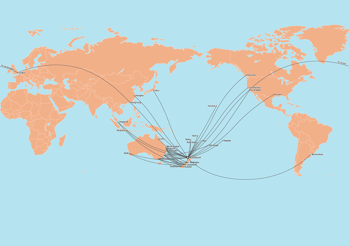 1200x848 Map Of Air New Zealand Routes On Behance