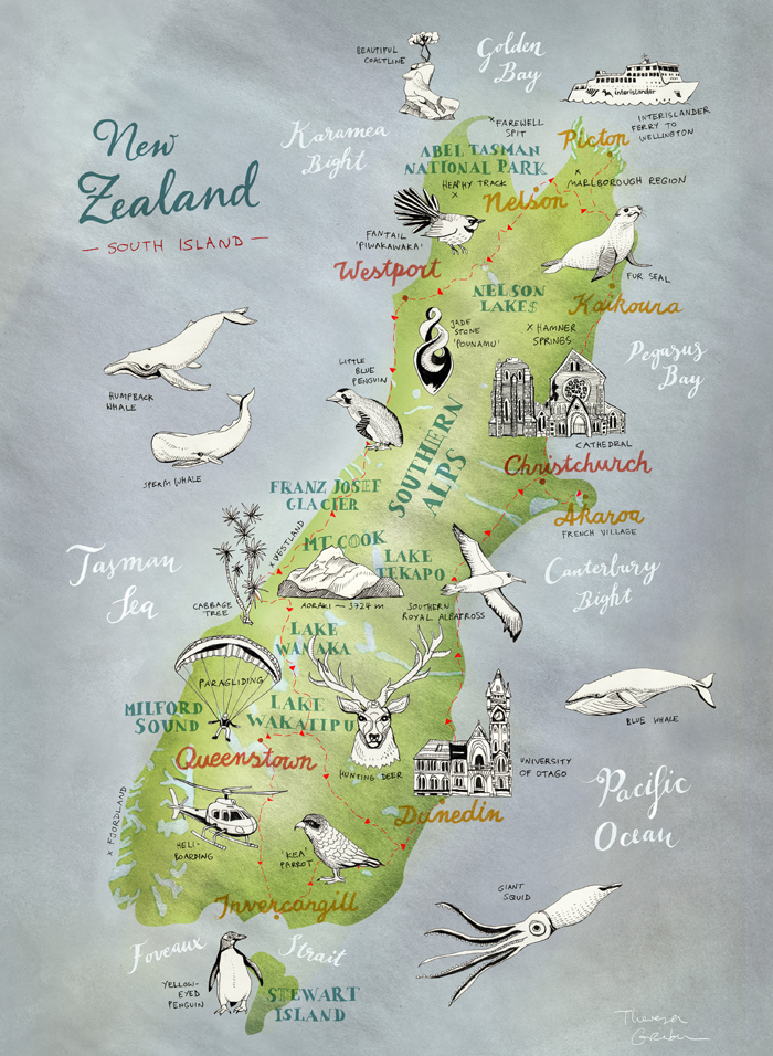 New zealand map drawing at getdrawings free for personal use 700x956 map of new zealand south island illustrated map by theresa gumiabroncs Image collections