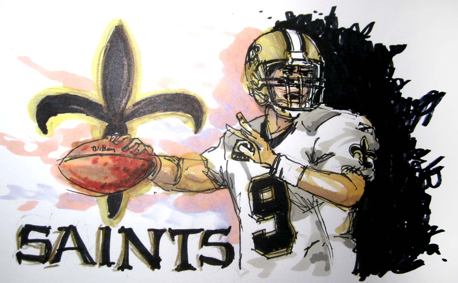 1600x992 Nfl Football Series New Orleans Saints Time Lapse Drawing