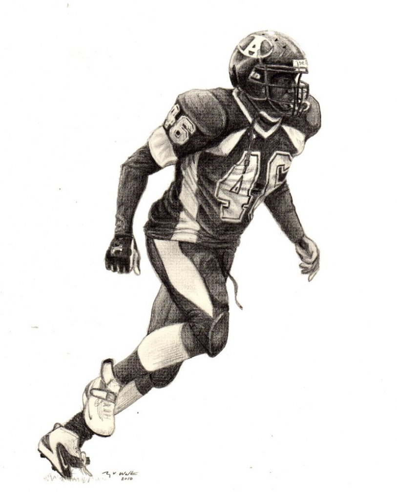 813x1024 Drawing Of A Football Player
