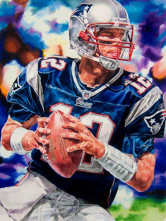 576x768 Tom Brady, Patriots 18 X 24 Colored Pencil Drawing By Janine