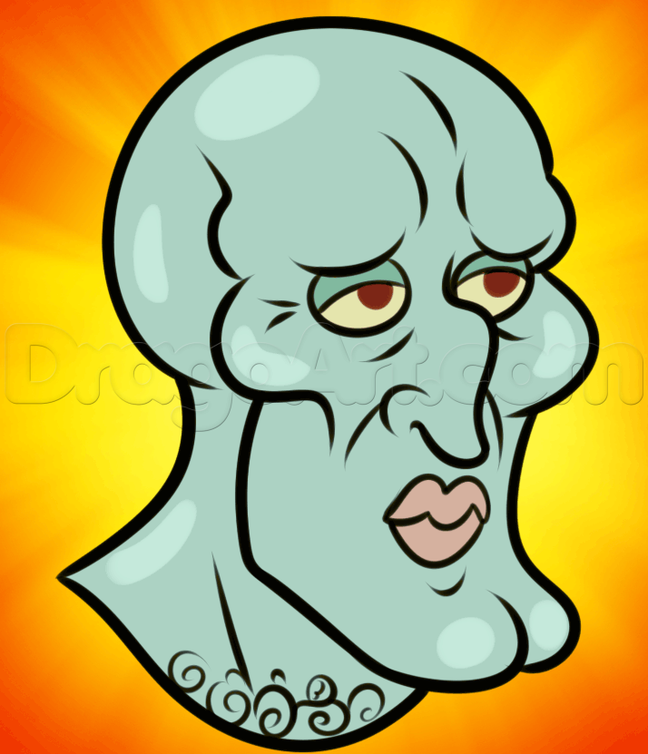714x831 How To Draw Handsome Squidward, Step By Step, Nickelodeon