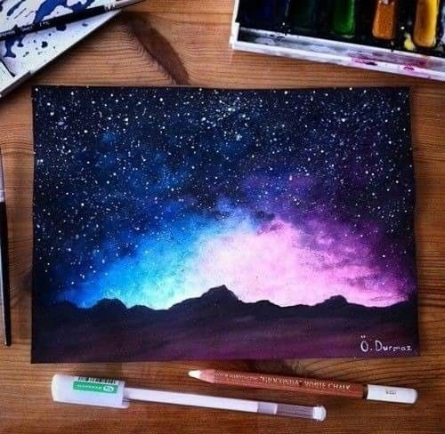 500x488 Beautiful. Just The Mountains And The Night Sky Learning To Draw