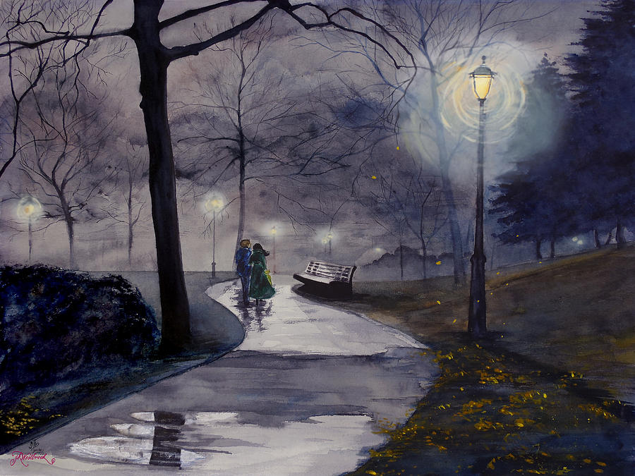 900x675 Rainy Night In Central Park Drawing By Jill Westbrook