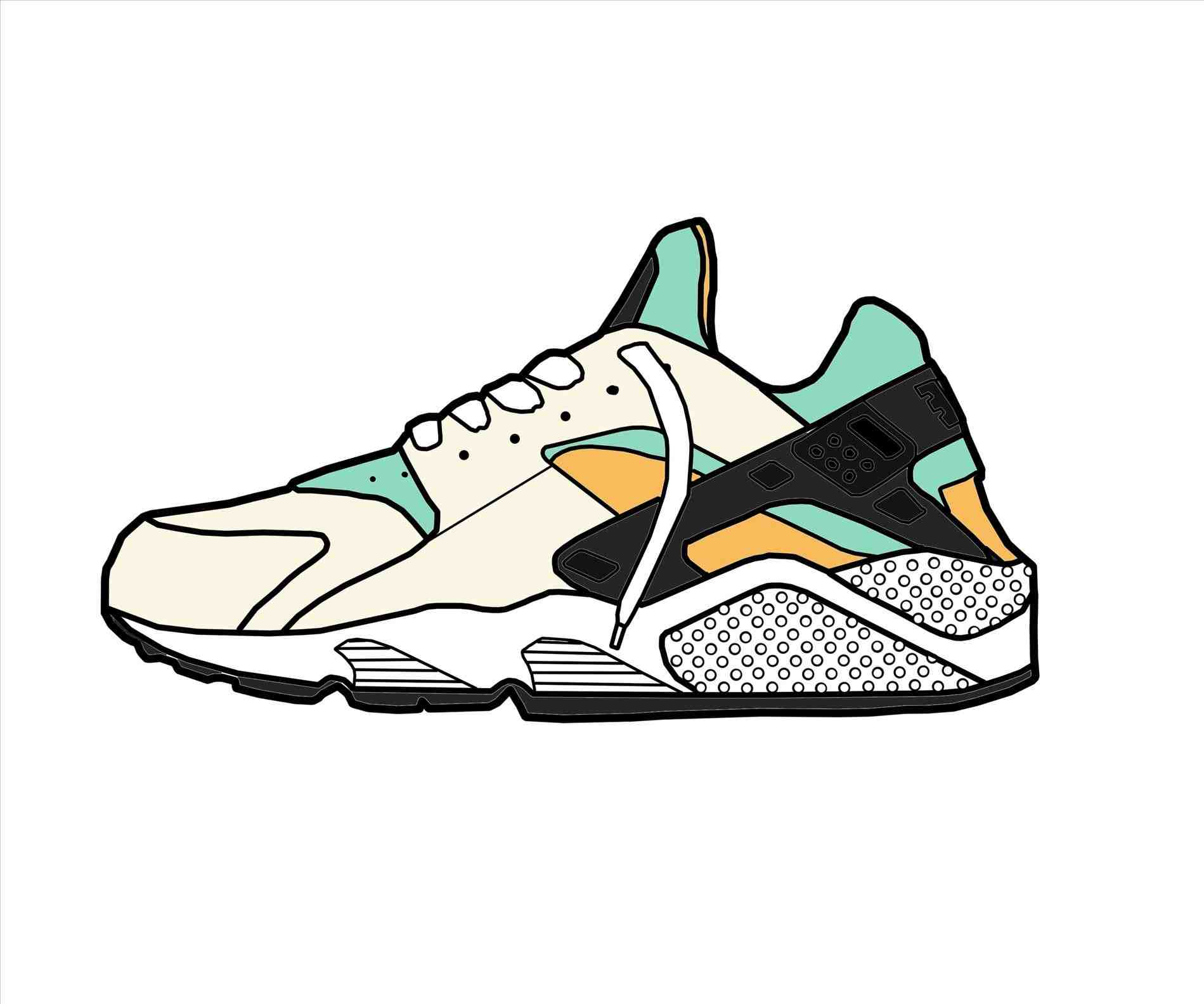 1899x1583 Cartoon Nike Shoes Drawing