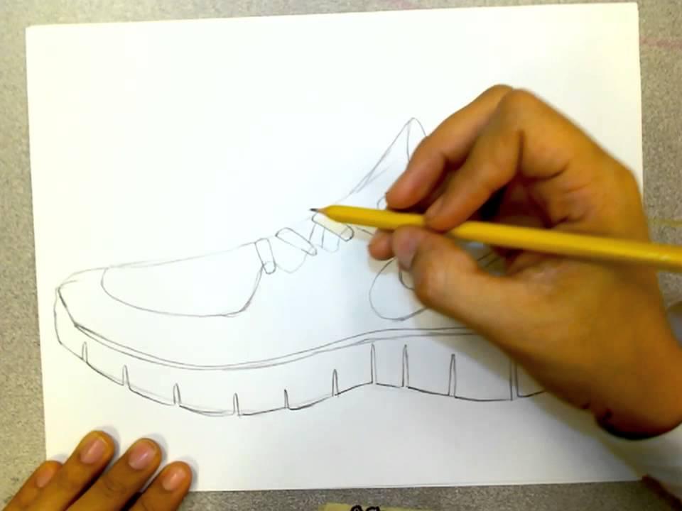 960x720 Nike Runfree Shoe Drawing