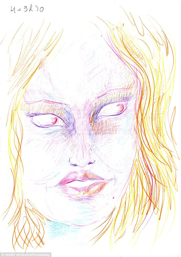 634x897 Whatafinethrowaway Takes Lsd And Draws Herself To Show Drug'S