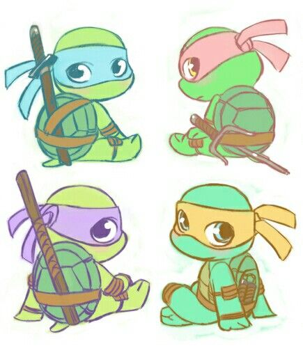 435x500 Teenage Mutant Ninja Turtles Chibi Tattoos Teenage