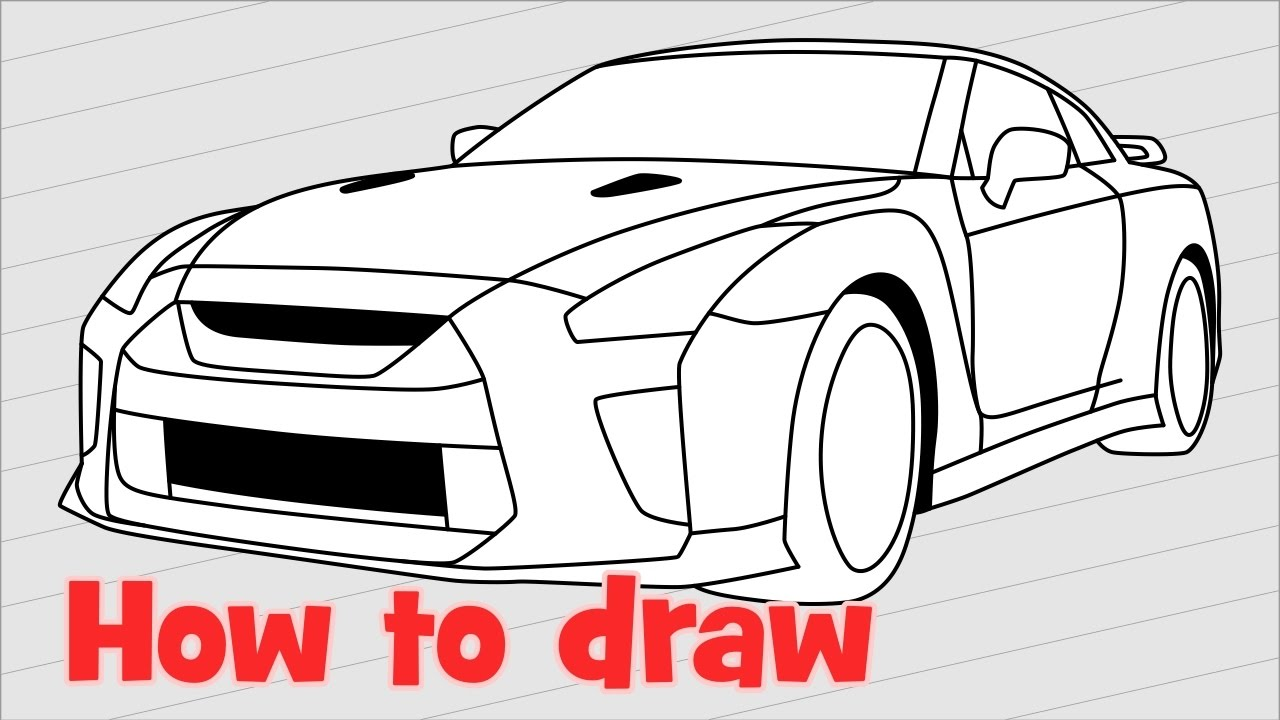 1280x720 How To Draw A Car Nissan Gt R Nismo 2017 Quick