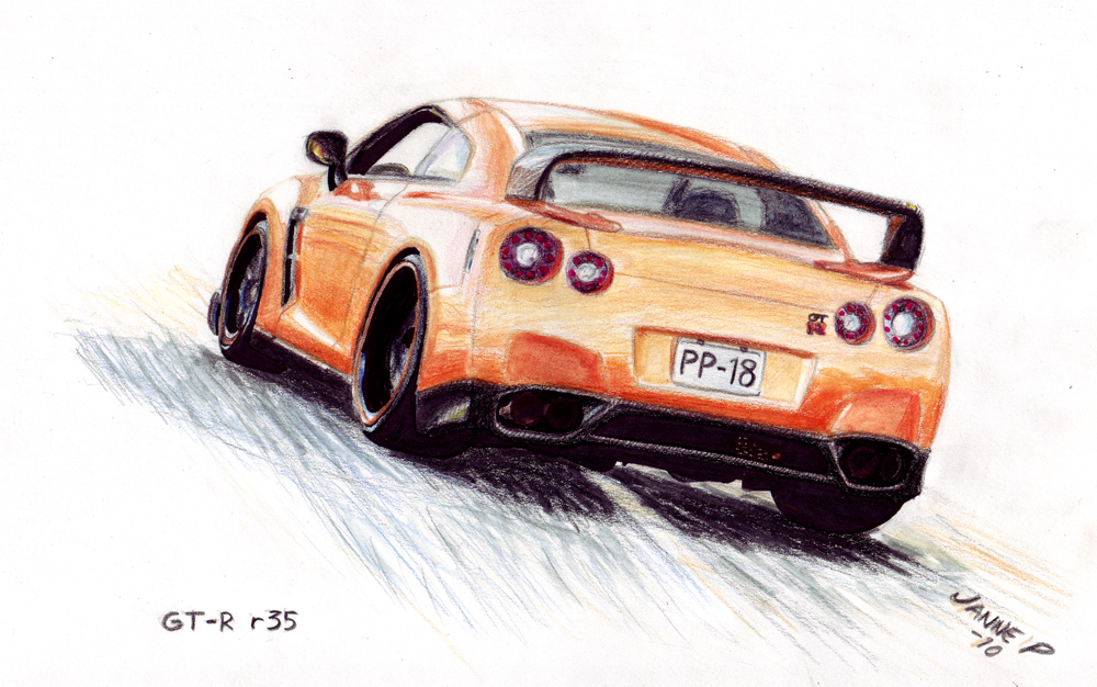 1000x626 Nissan Gt R Drawing By Jiip33