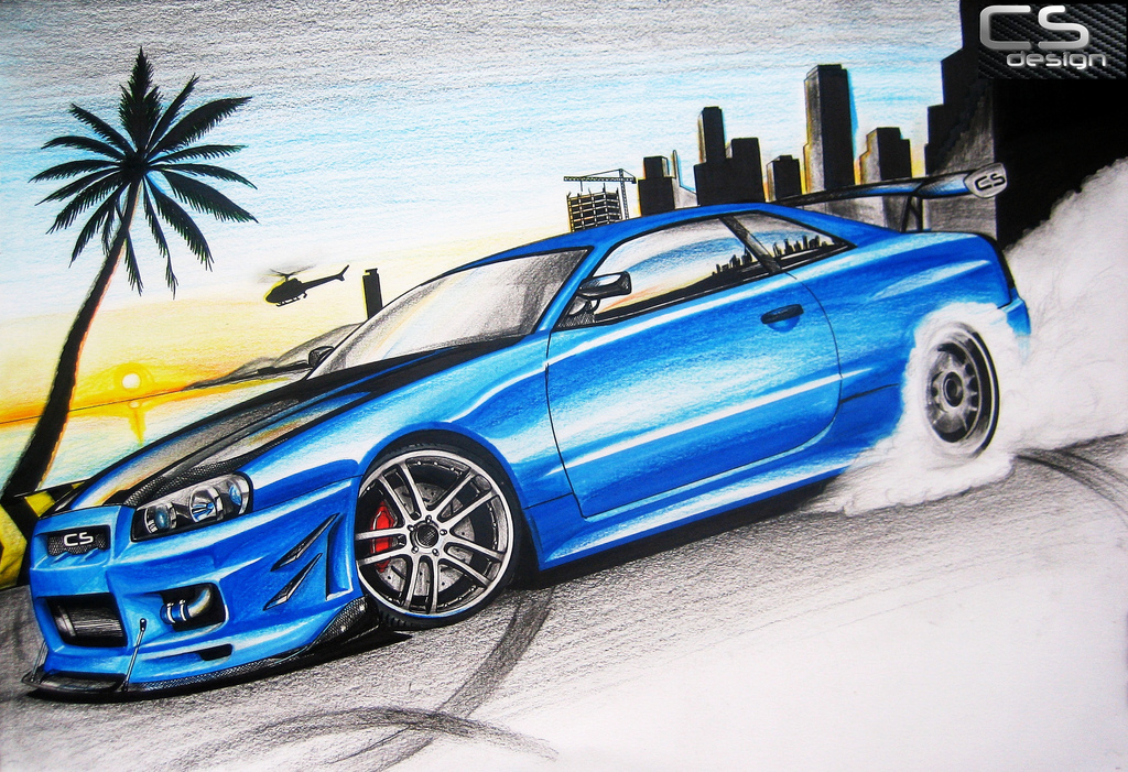 1024x701 Nissan Skyline Gt R34 This One Of My Favorite Drawing I