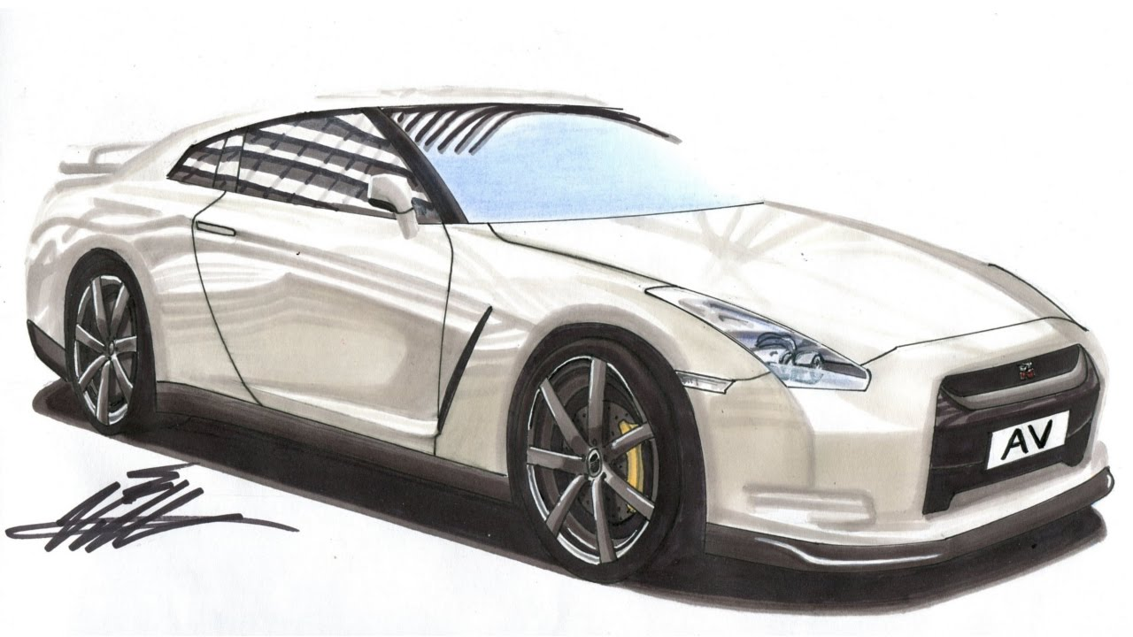 1280x720 Realistic Car Drawing