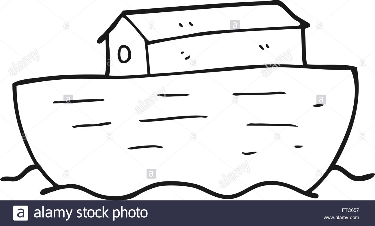 1300x786 Freehand Drawn Black And White Cartoon Noah's Ark Stock Vector Art