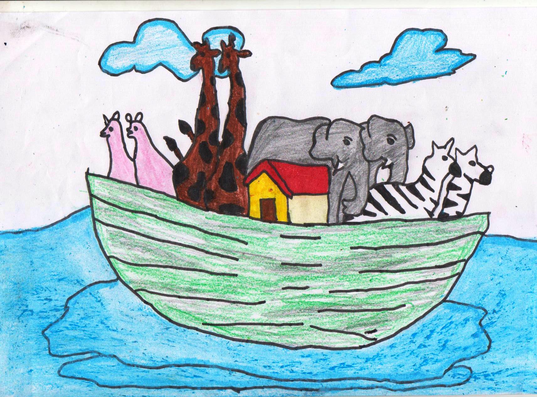 1712x1268 Noah's Ark With Animals Drawing Done By Dharshana G.dharshana