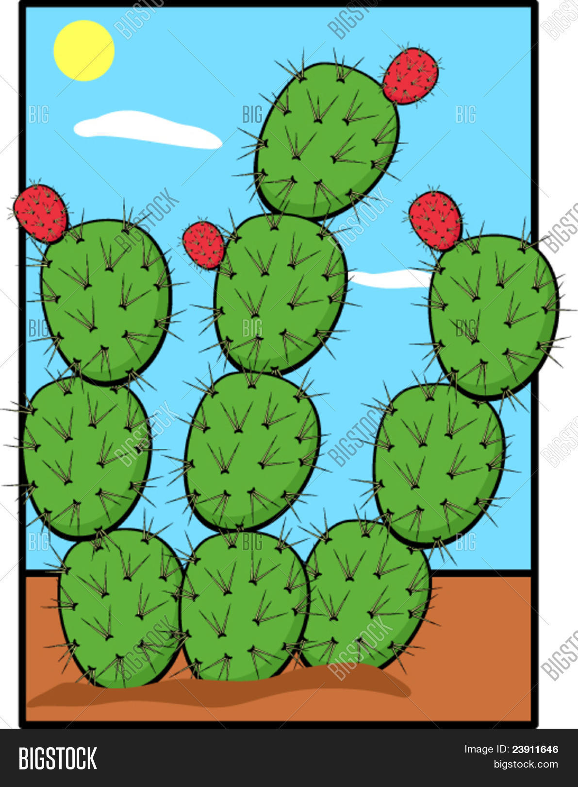 1191x1620 Prickly Pear Nopal Plant Vector Amp Photo Bigstock