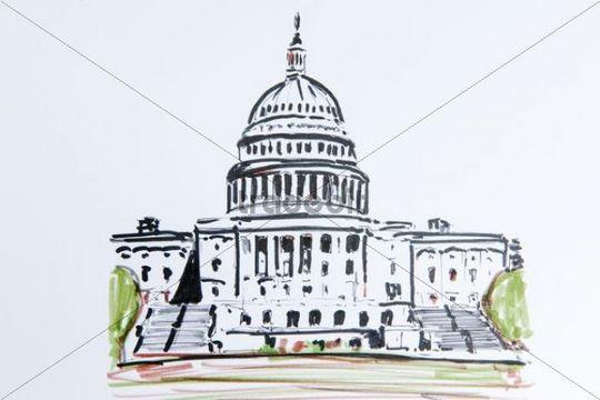 540x360 Capitol, Washington, Usa, North America, Drawing By Gerhard Kraus,