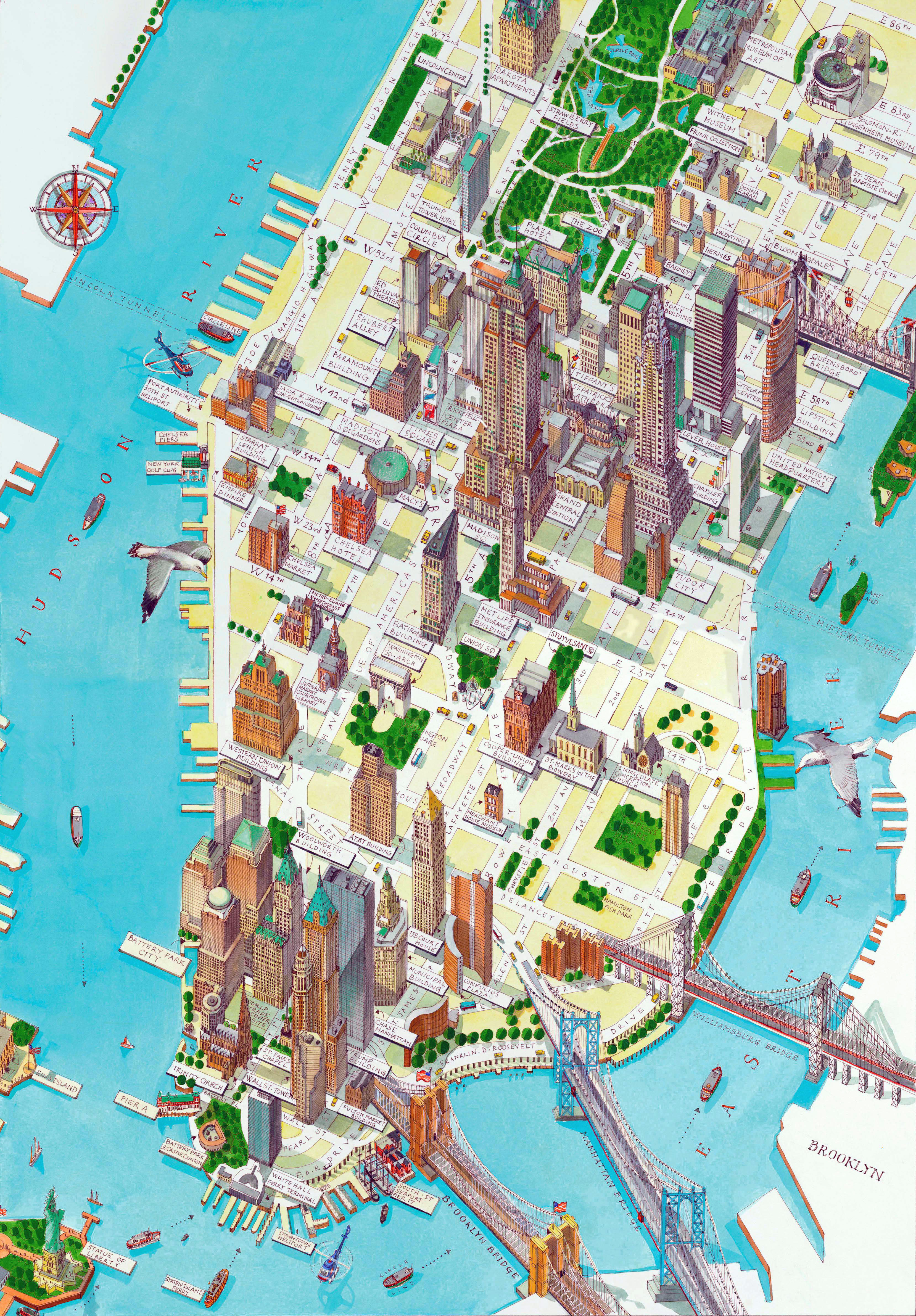 3317x4766 Large Detailed Panoramic Drawing Map Of Lower Manhattan, Nyc New