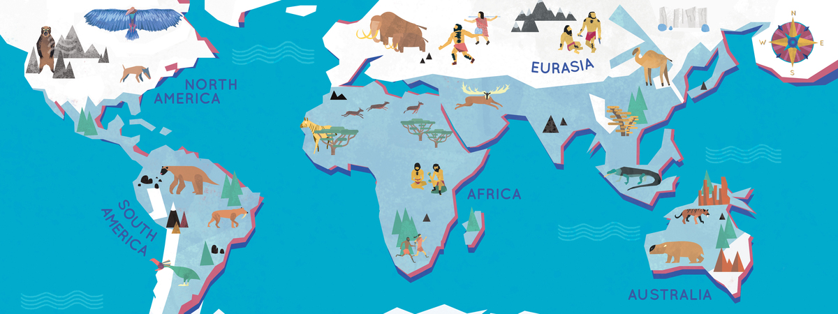 1200x450 Map World Ice Age Travel Maps And Major Tourist Attractions Maps