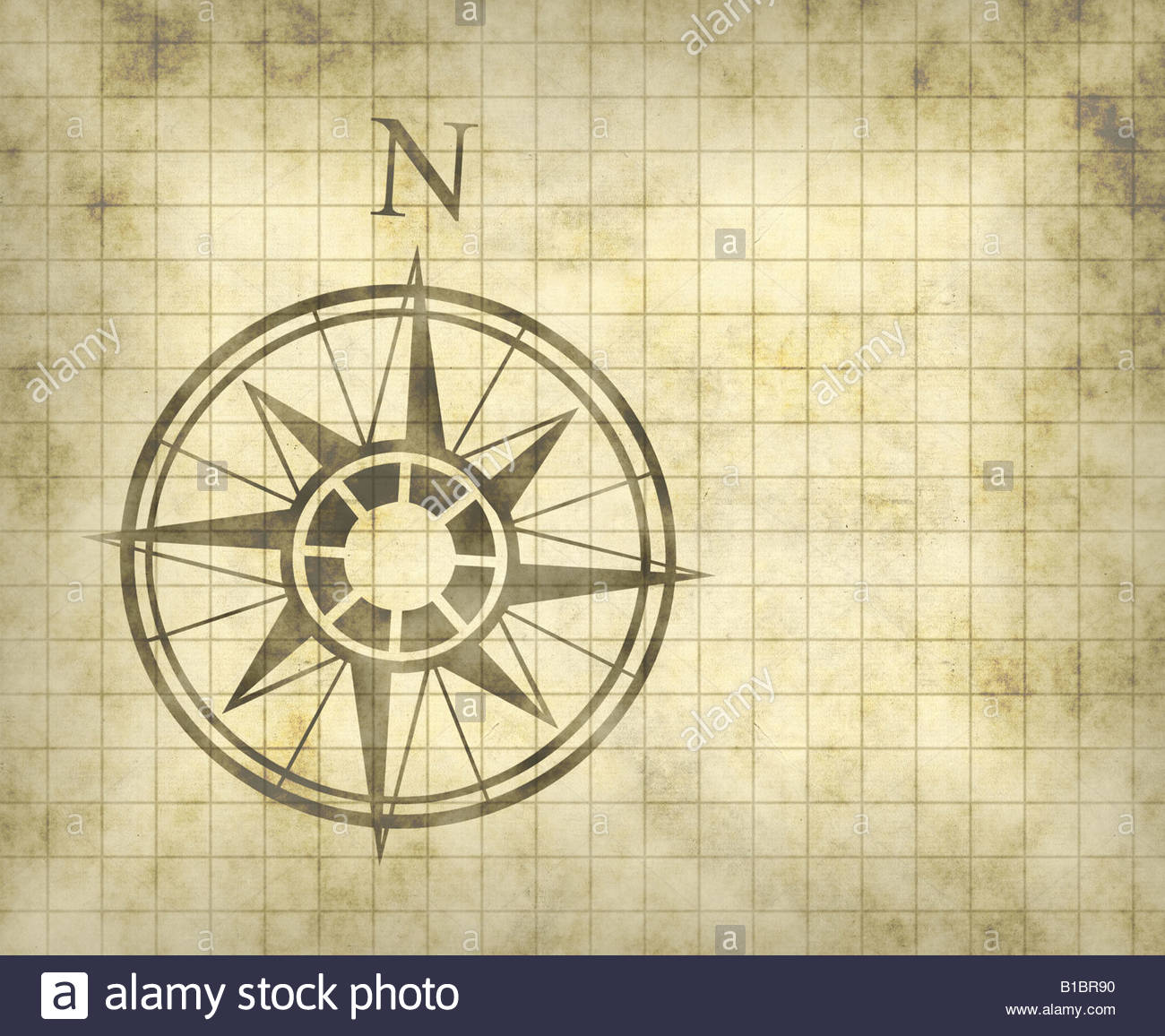 1300x1156 Great North Arrow And Compass On Old Parchment Map With Copy Space