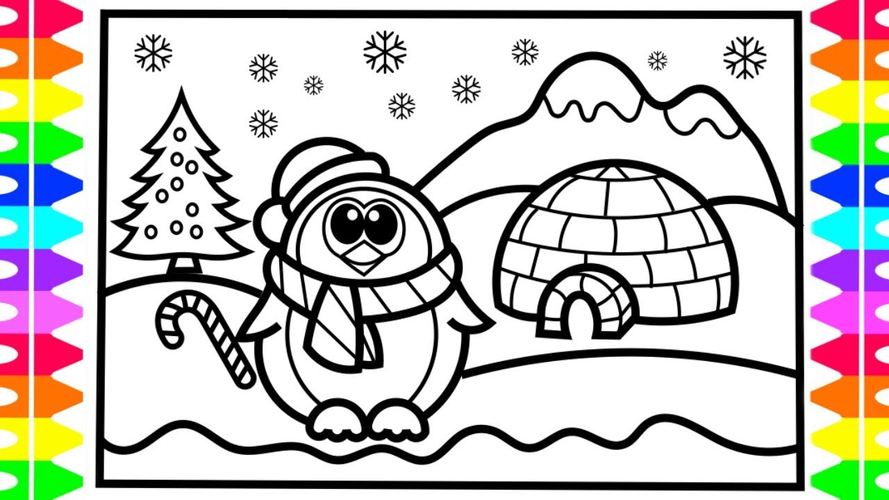 1280x720 Christmas Drawing And Coloring Page! How To Draw A Penguin Step By
