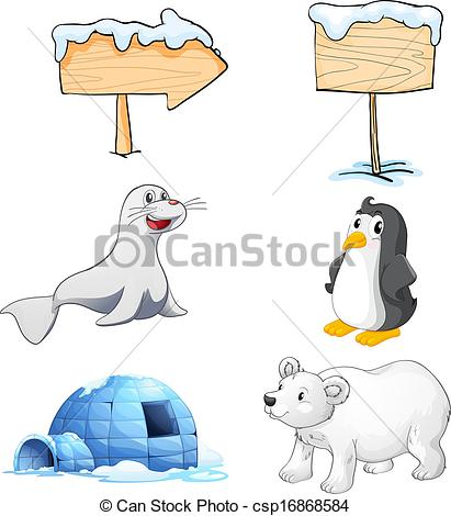 411x470 Illustration Of The Signboards, Animals And An Igloo