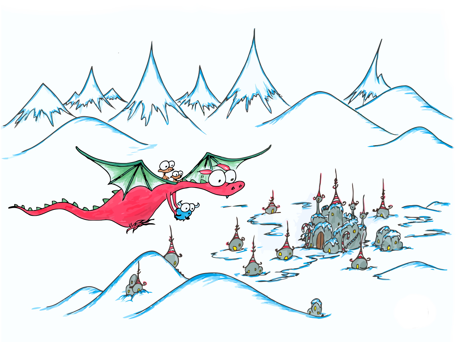 1600x1200 A Christmas Dragon Flying To The North Pole
