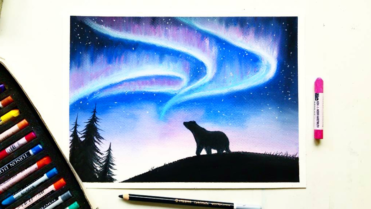 1280x720 Drawing The Northern Lights(Aurora Borealis) With Soft Pastels