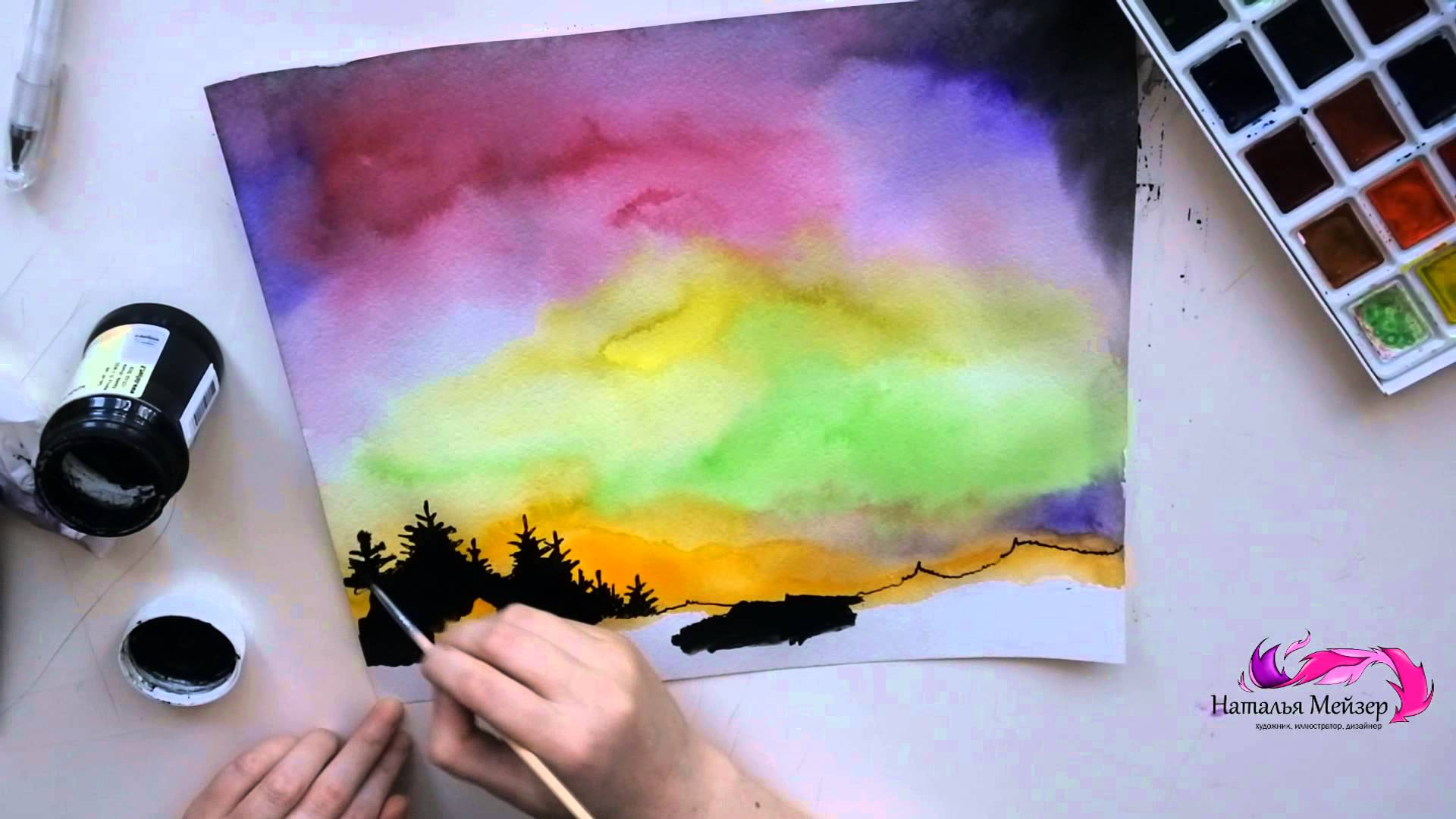 1920x1080 How To Draw The Northern Lights (Watercolor Tutorial)