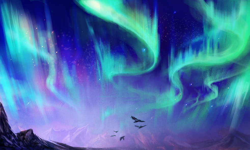 982x589 Northern Lights Speedpainting By Exileden