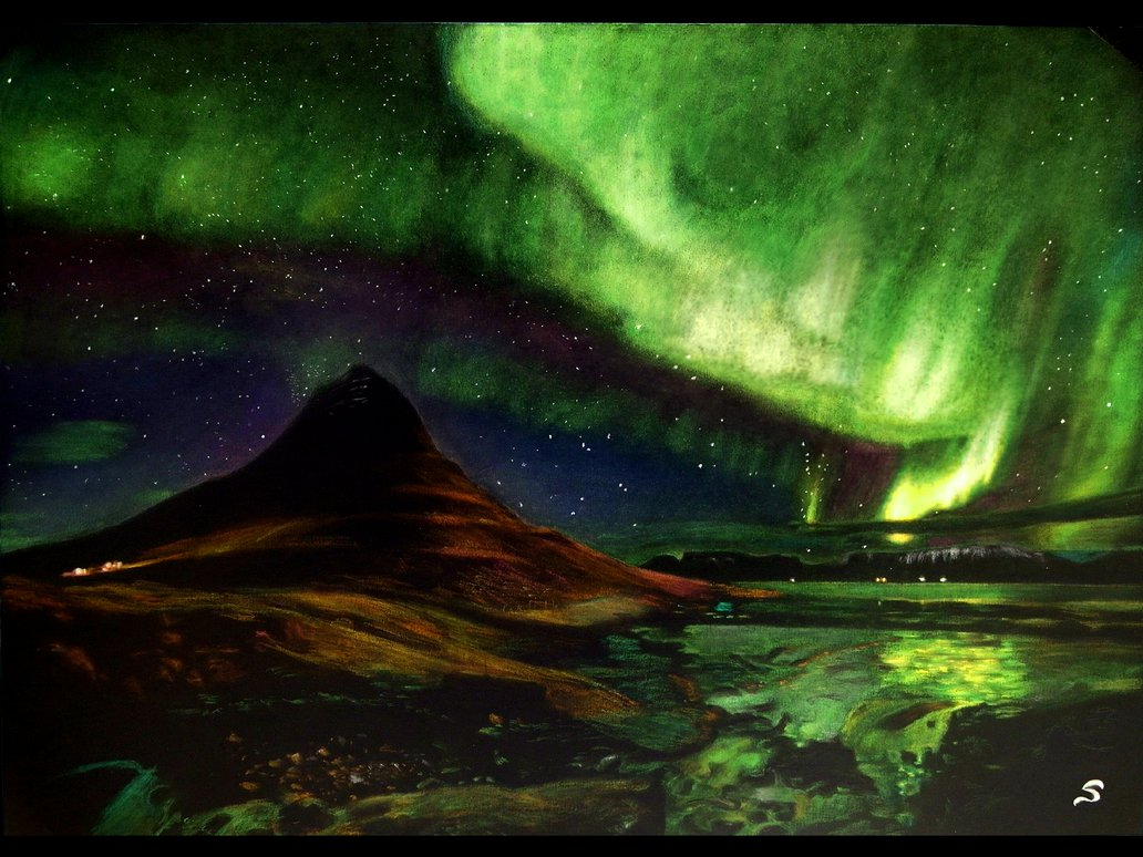 1032x774 Northern Lights Drawing By Simon Drawings