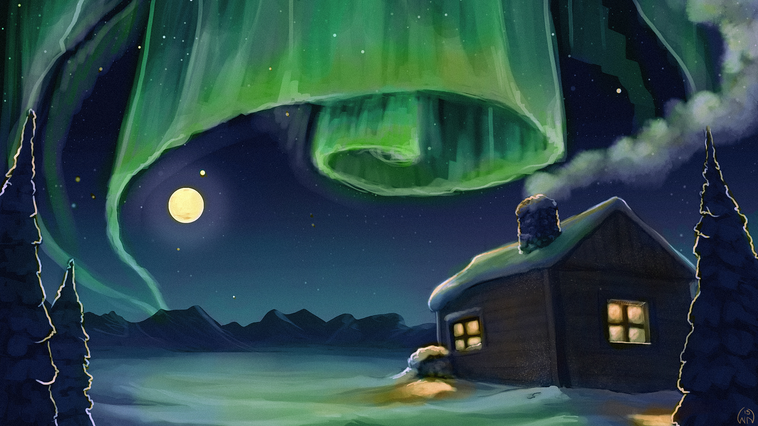 2500x1406 The Cabin Under The Northern Lights Wictorian Art
