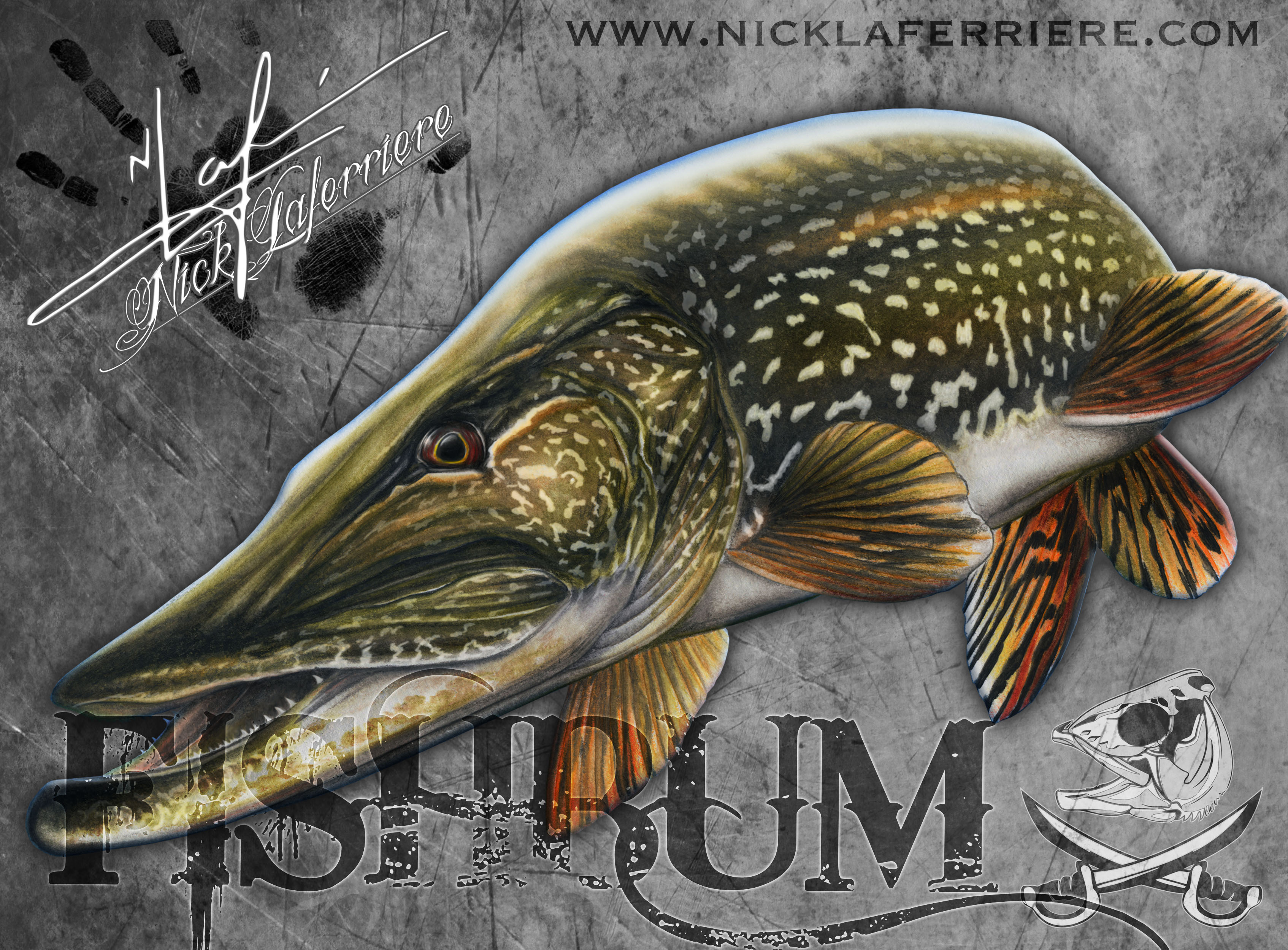 3388x2500 Northern Pike Mixed Media By Nick Laferriere Merry Christmas