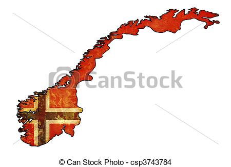 450x325 Norway Flag Territory. Old Map Of Norway With Flag
