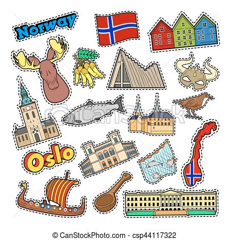 450x470 Norway Travel Elements With Architecture And Viking. Vector